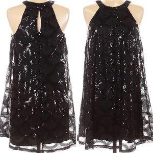 City Triangles little black sequin cocktail dress